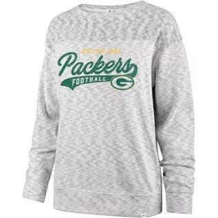 '47 Brand Green Bay Packers Women's White Wash Sport Script Crew Sweatshirt