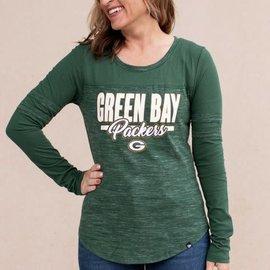 5th &  Ocean Green Bay Packers Women's Space Dye Scoop Neck Long Sleeve Tee
