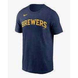 Nike Milwaukee Brewers Men's Nike Wordmark Short Sleeve Tee