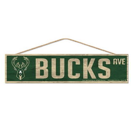 WinCraft, Inc. Milwaukee Bucks 4x17 Wood Sign with Rope