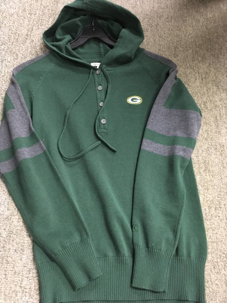 Green Bay Packers Womens Hooded Henley Sweater Packerland Plus