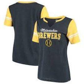 '47 Brand Milwaukee Brewers Women's Match Notch Short Sleeve Shirt