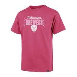 '47 Brand Milwaukee Brewers Youth Magenta Sparkler Super Rival Short Sleeve Tee