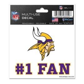 WinCraft, Inc. Minnesota Vikings 3x4 Multi-use Decal #1 Fan