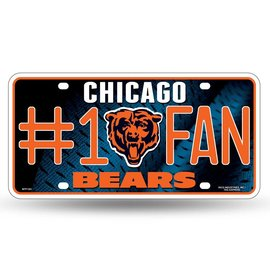 Rico Industries, Inc. Chicago Bears #1 Fan Metal License Plate