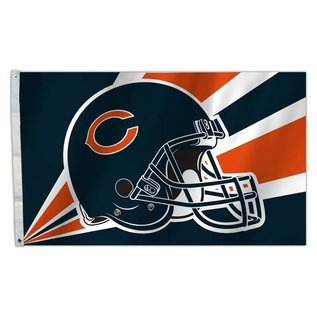 Fremont Die Chicago Bears 3x5 Flag - Helmet with Diagonal Lines