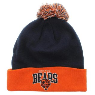 Chicago Bears Cuffed Knit Hat- navy with orange cuff & pom