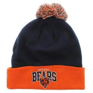Mitchell & Ness Chicago Bears Cuffed Knit Hat- navy with orange cuff & pom