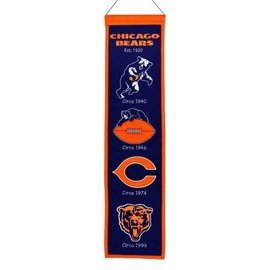 Chicago Bears Heritage Wool Banner with All Logos