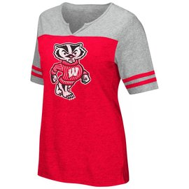 Colosseum Wisconsin Badgers Women's On A Break V Neck Short Sleeve Tee