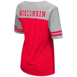 Colosseum Wisconsin Badgers Women's On A Break V Neck Short Sleeve Tee