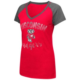 Colosseum Wisconsin Badgers Women's RamoRay V Neck Short Sleeve Tee