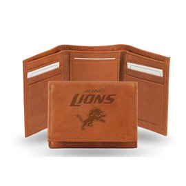 Detroit Lions brown leather trifold wallet with man-made interior