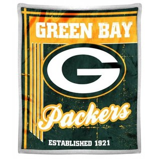 """Green Bay Packers 50x60 """"Old School"""" Mink with Sherpa Throw blanket"""