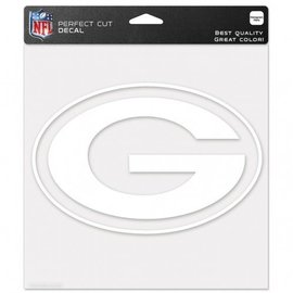 Green Bay Packers 8x8 White Perfect Cut Decal - G