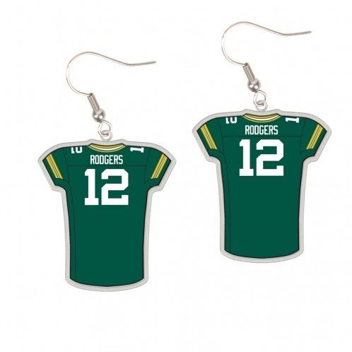 watch 98af7 a0d0b Green Bay Packers Aaron Rodgers Jersey Dangle Earrings
