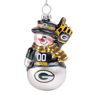 Boelter Brands LLC Green Bay Packers Blown Glass Glitter Snowman Ornament
