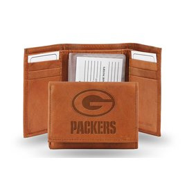 Green Bay Packers Brown Leather Trifold Wallet With Man-made Interior