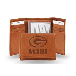 Rico Industries, Inc. Green Bay Packers Brown Leather Trifold Wallet With Man-made Interior
