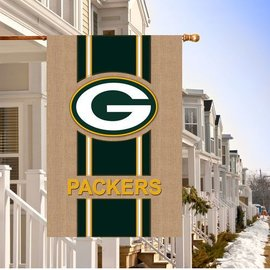 Green Bay Packers Burlap Banner Flag