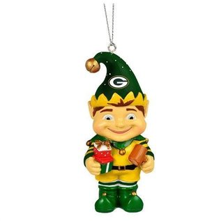 Forever Collectibles Green Bay Packers Elf with Presents Ornament