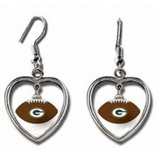 Aminco Green Bay Packers Football with Silver Heart Dangle Earrings