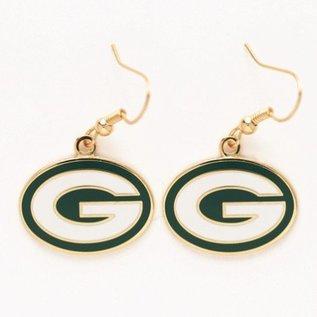 WinCraft, Inc. Green Bay Packers G Dangle Earrings Gold