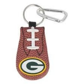Green Bay Packers Leather Football Keychain