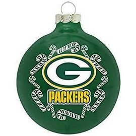 Green Bay Packers Round Ball Ornament with Candy Canes