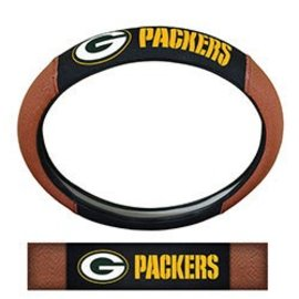 Green Bay Packers Steering Wheel Cover- Brown Leather