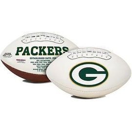 Green Bay Packers white full size football with autograph pen