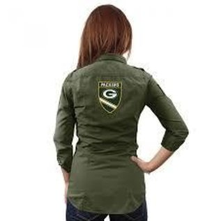 Little Earth Green Bay Packers Women's Full Button Military Shirt