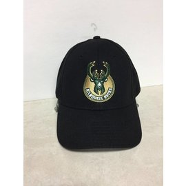 Adidas Milwaukee Bucks Adidas Black with Round Buck Logo Hat