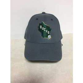 Adidas Milwaukee Bucks Adidas Gray With State  Hat