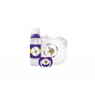 Baby Fanatics Minnesota Vikings  Gift Set: Bottle, Bib, & Pacifier