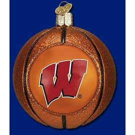 Wisconsin Badgers Blown Glass Basketball Ornament
