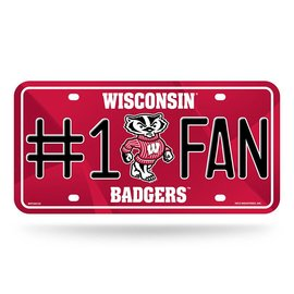 Wisconsin Badger Metal #1 Fan License Plate