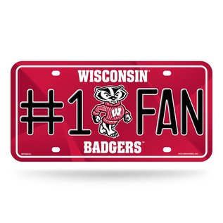 Rico Industries, Inc. Wisconsin Badgers #1 Fan Metal License Plate