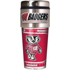 Great American Products, LTD Wisconsin Badgers 16oz Travel Tumbler with Metallic Wrap