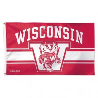 WinCraft, Inc. Wisconsin Badgers Deluxe 3x5 Flag - Bucky in Front of W