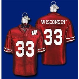 Wisconsin Badgers Blown Glass Jersey Ornament