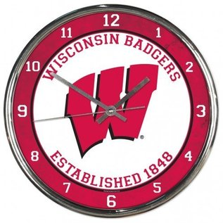 WinCraft, Inc. Wisconsin Badgers Chrome Clock