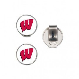 Wisconsin Badgers Golf Hat Clip with 2 markers
