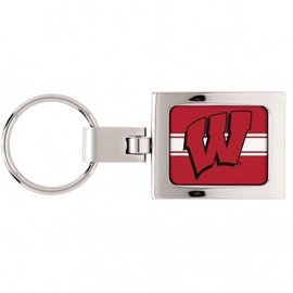 Wisconsin Badgers Square Swivel Keychain