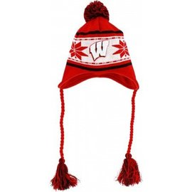 Wisconsin Badgers striped snowflake knit hat