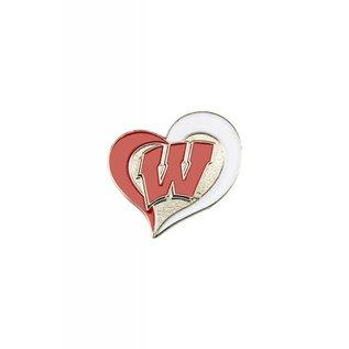 Aminco Wisconsin Badgers Swirl Heart Pin