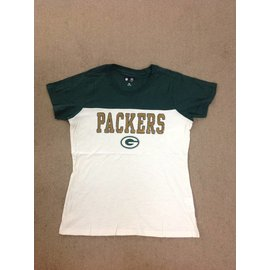 Green Bay Packers Women's Ownin The Field Vintage White Sequined Short Sleeve Tee