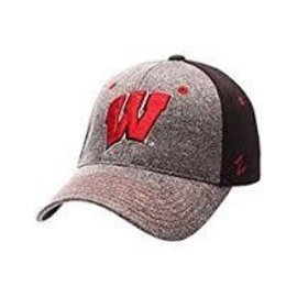 Wisconsin Badgers Z-Fit Hat - Black Back, Gray Front & Bill