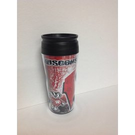 Wisconsin Badgers travel mug with black cover