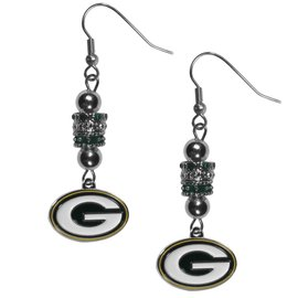 Green Bay Packers Euro Bead Dangle Earrings